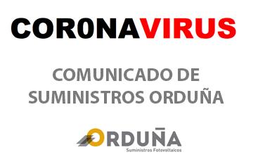 comunicado CORONAVIRUS suministros orduña