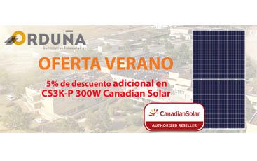 OFERTA VERANO: 5% de descuento adicional en módulos Canadian Solar CS3K-P 300W