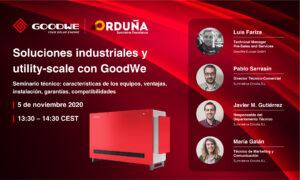 Webinar GoodWe: Soluções industriais e em escala de utilização com GoodWe. @ Suministros Orduña
