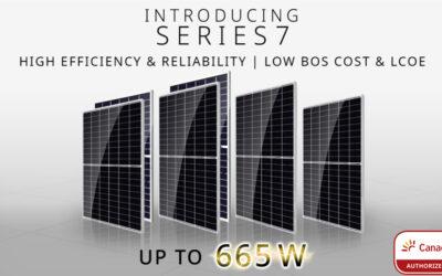 Painéis solares Canadian Solar da série 7. Até 665 W de potência